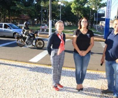 Andradina tem faixa exclusiva em semáforo para motociclistas