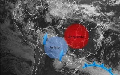 Ar polar entra pelo interior do continente e temperatura despenca entre MS e MT