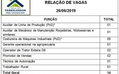Casa do trabalhador oferece 14 vagas de emprego nesta quarta (26) em Três Lagoas