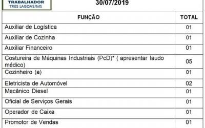 Confira as 15 vagas de emprego disponíveis nesta terça (30) em Três Lagoas
