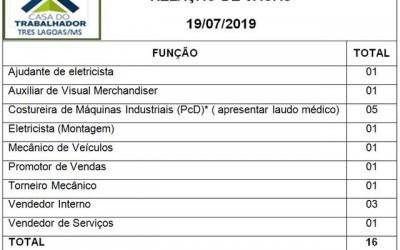 Confira as 16 vagas de emprego disponíveis nesta sexta (19) em Três Lagoas