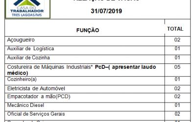 Confira as 25 vagas de emprego disponíveis nesta quarta-feira (31) em Três Lagoas