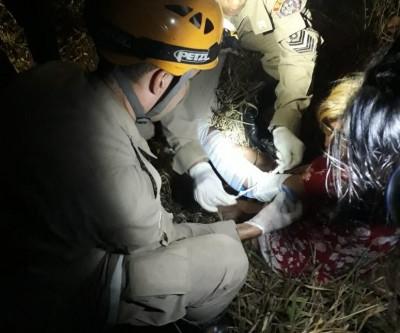 Com suspeita de fratura em um braço, idosa é resgatada nas proximidades do Novo Oeste