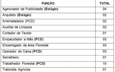 Confira as 33 vagas de emprego disponíveis nesta quinta (22) em Três Lagoas