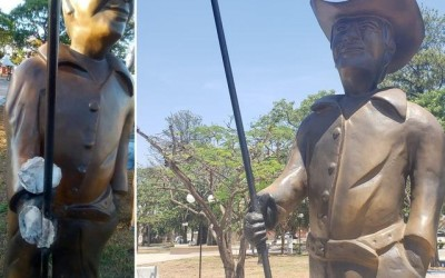 """Estátua """"Junta de Bois"""" é danificada e recuperada em menos de 24 horas"""