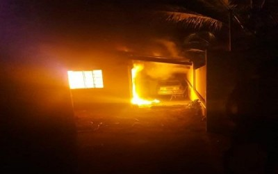 Casa pega fogo com família dentro em Água Clara; vítimas precisam de doações