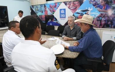 Representantes da Capitania Fluvial do Pantanal visitam prefeito de Três Lagoas