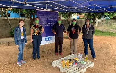 Assistência Social monta sistema Drive Thru para arrecadação de alimentos e produtos de higiene