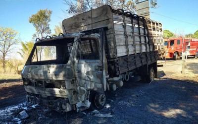 Em Costa Rica, caminhão boiadeiro pega fogo e motorista consegue salvar bovino