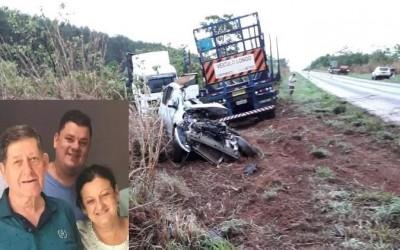 Colisão entre carro e carreta na BR-262 matou empresário, mulher e filho