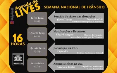 Diretoria de Trânsito promove agenda de Lives na Semana Nacional de Trânsito