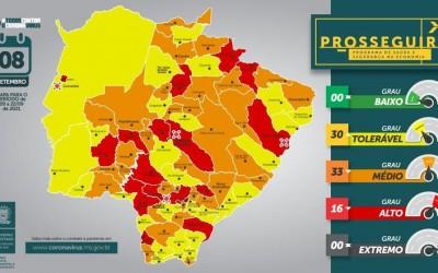 Metade das cidades de MS está com bandeira laranja, de risco médio para a pandemia