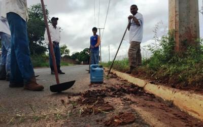 Cansada de esperar pelo poder público, empresa limpa canteiro de importante rua em Três Lagoas