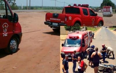 """Ambulância dos bombeiros """"quebra"""" com marceneiro acidentado"""