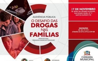 Vereador André Bittencourt propõe audiência pública para discutir impacto das drogas nas famílias