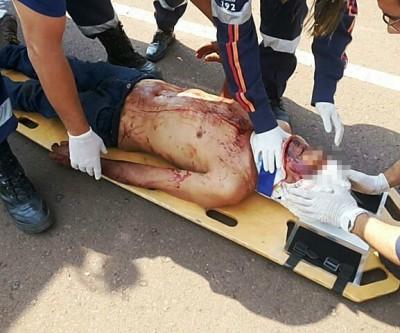 SAMU resgata vítimas de capotamento que sofreram acidente na MS-320