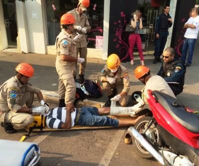 Acidente na área central deixa motociclista ferido