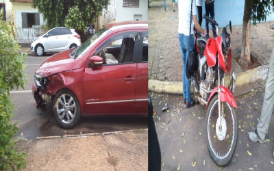 Acidente entre moto e carro na área central de Três Lagoas