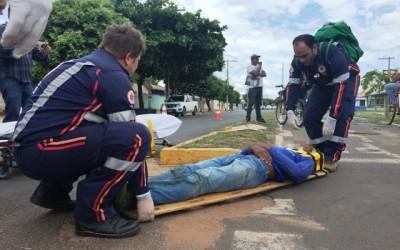 Ciclista desmaia ao sofrer acidente no bairro Lapa em Três Lagoas