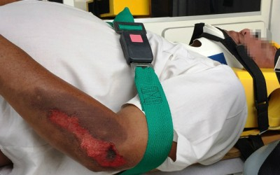 Cobrador de funerária sofre acidente após atropelar cachorro