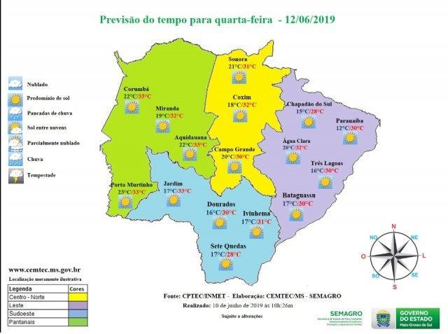 Confira a previsão do tempo desta quarta-feira em Três Lagoas (MS) e região