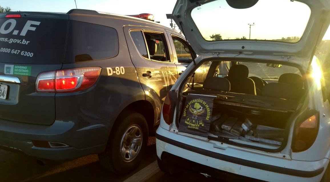 Durante policiamento DOF apreende veículo com droga na região de Dourados