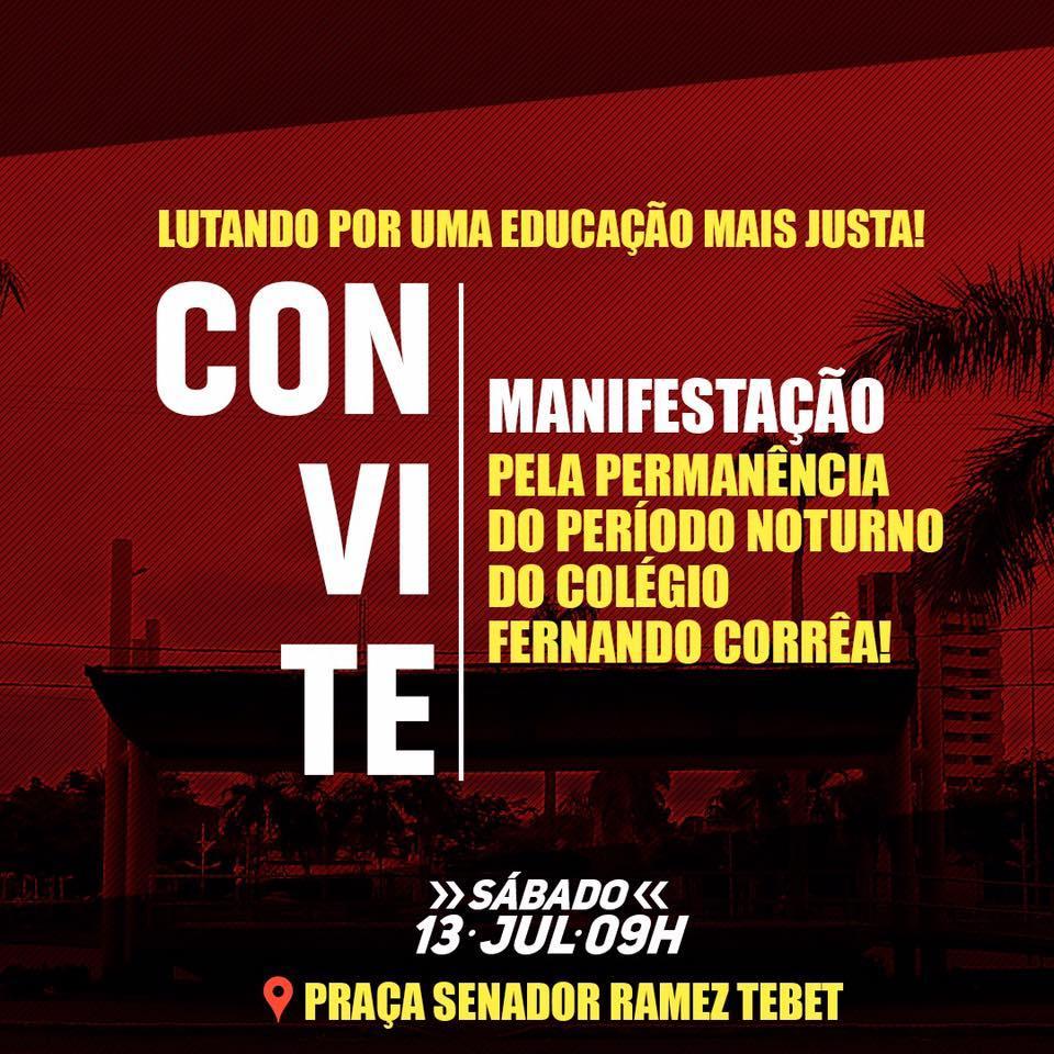 Alunos fazem manifestação neste sábado (13) contra o reordenamento de turmas na Rede Estadual de Três Lagoas