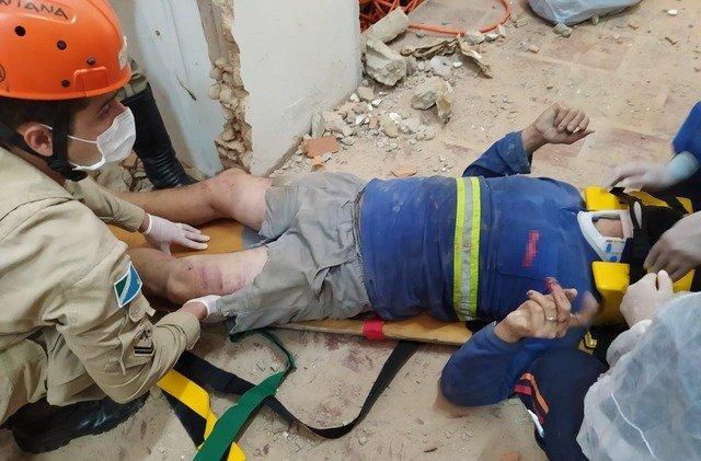Trabalhador fica ferido com desabamento de laje, no bairro Colinos
