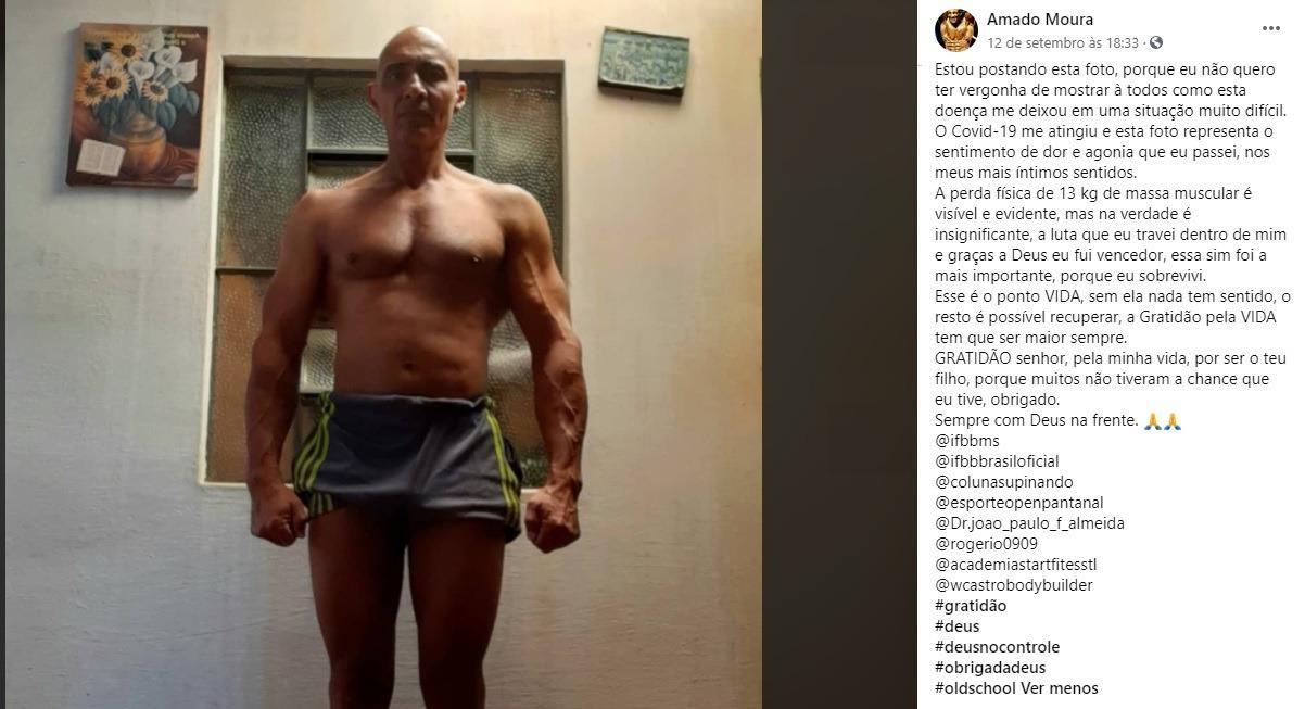 Após perder 13 kg de massa muscular por causa da Covid-19, fisiculturista desabafa e emociona internautas